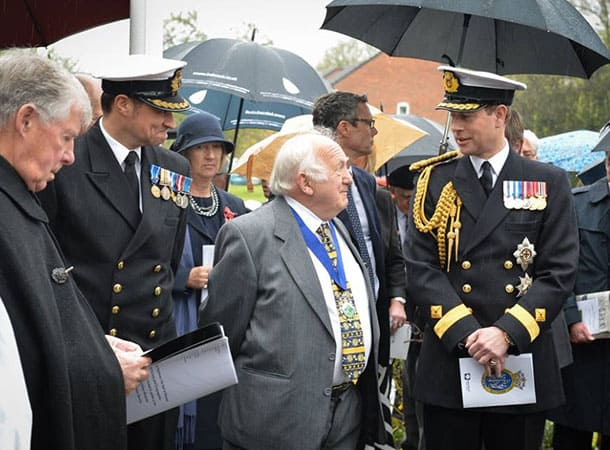 HRH The Earl of Wessex talking with Cllr Fred White prior to the service