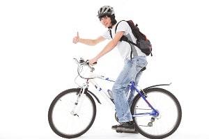 Rider with bike