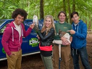 CBBC Wild Presenters Radzi Chinyanganya and Naomi Wilkinson with Jason Palmer Animal Manager NFWP and presenter Tim Warwood