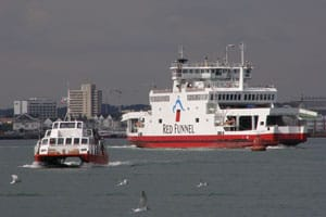 Hythe Ferry and Red Funnel Ferry