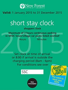 NFDC short stay parking clock 2015