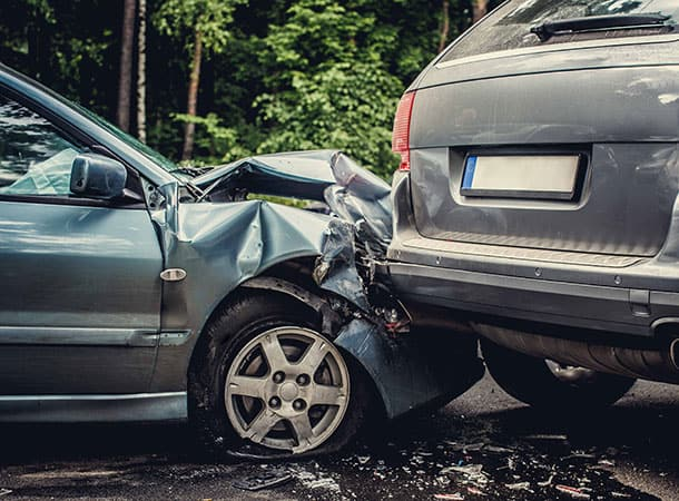 Don't Drive Tired - tweo cars involved in an accident