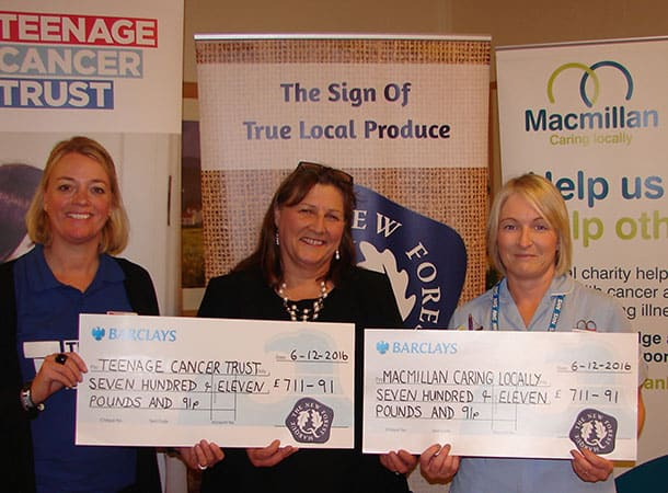 Food Quiz - (L to R): Amanda Hetherington, regional fundraiser for Teenage Cancer Trust; Jane Overall, New Forest Marque Chairman and Tracey Watts from Macmillan Caring Locally in Christchurch with the proceeds from the 2016 New Forest Marque quiz.